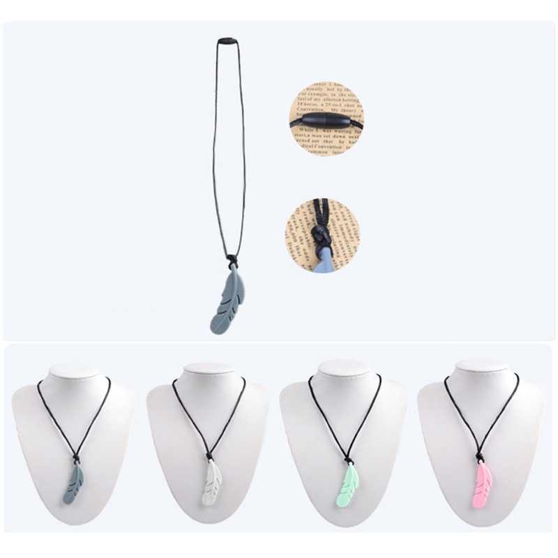 Кулон для кормящих перьев Супер горячая Распродажа детский силиконовый Прорезыватель сажа жевательная игрушка SP-1057 ожерелье-прорезыватель