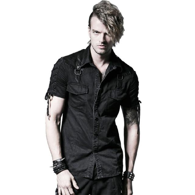 9b09672dcb2 Gothic Punk Men Denim Shirts Black Short Sleeves Casual Shirt Double  Pockets Summer Black Cotton Shirts