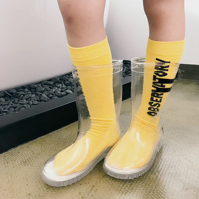 Girls rain boots 2018 autumn new girls transparent non-slip boots fashion wild fashion tide new fashion boots autumn cool