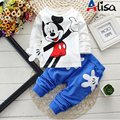 Spring children cartoon clothing sets boys girls Minnie cotton long-sleeve shirts+ pants baby sports suits casual kids clothes