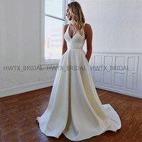 Long Satin Evening Dress 2019 Robe de soiree White Plus Size A Line V Neck Backless Formal Evening Gown Vestidos de fiesta