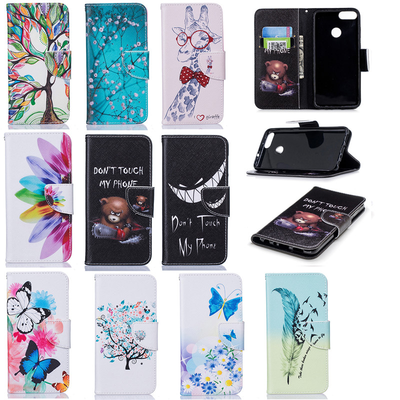 100% Quality For Funda Huawei P Smart Cute Cartoon Panda Unicorn Flamingo Pu Leather Flip Cover Wallet Case For Huawei P Smart Enjoy 7s