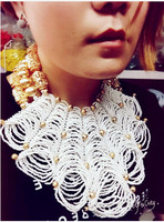 Luxury Dubai Gold Chunky Bib Statement Necklace Set African Wedding White Beads Bridal Jewelry Sets Nigerian Wedding BeadsABH479
