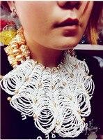 Luxury Dubai Gold Chunky Bib Statement Necklace Set African Wedding White Beads Bridal Jewelry Sets Nigerian Wedding BeadsABH479