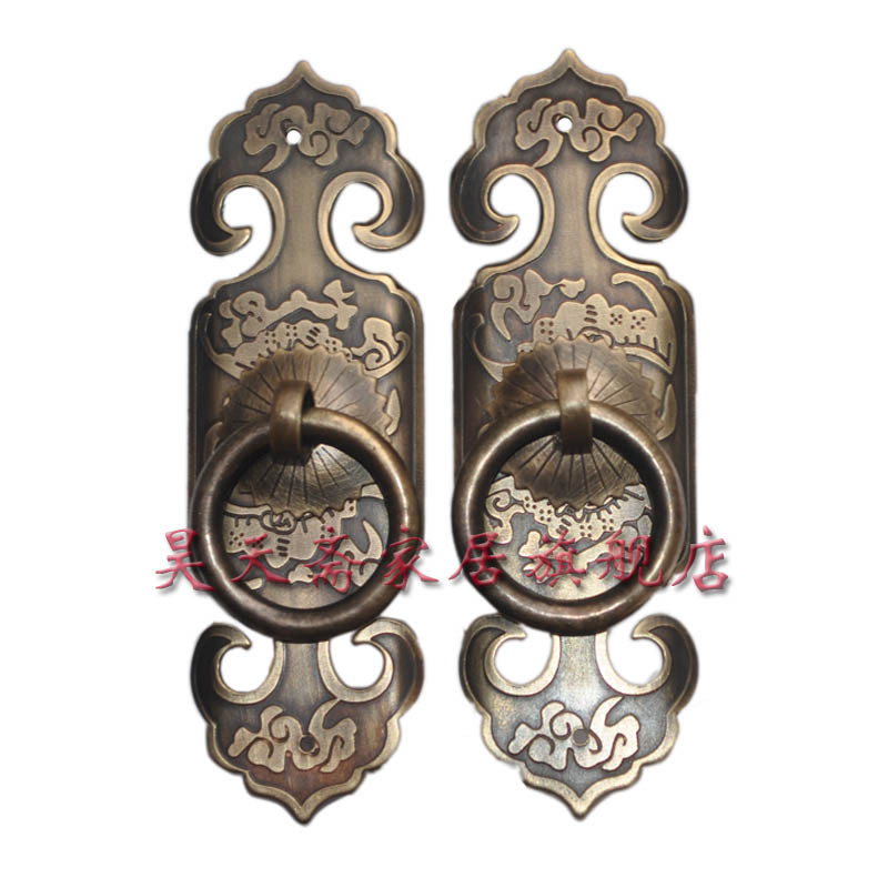 [Haotian vegetarian] bronze Chinese antique Ming and Qing furniture, copper fittings straight door handle HTC-094[Haotian vegetarian] bronze Chinese antique Ming and Qing furniture, copper fittings straight door handle HTC-094
