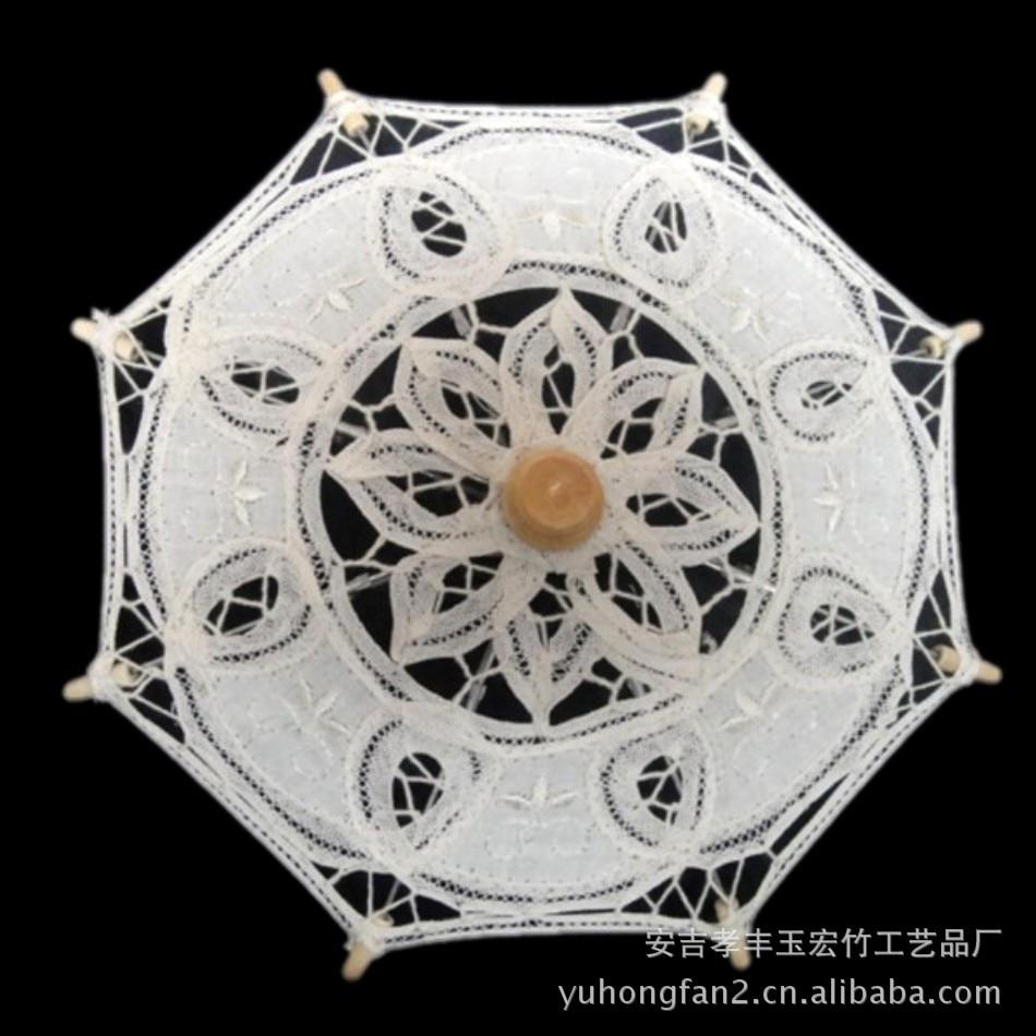 Wedding-Umbrella Parasols Lace Bamboo Small Vintage White Hot-Sale Fashion Cottons