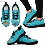 INSTANTARTS Cute Cartoon Veterinarian Print Woman Sports Shoes Breathable Outdoor Running Shoes Air Mesh Lace Up Sneakers Women