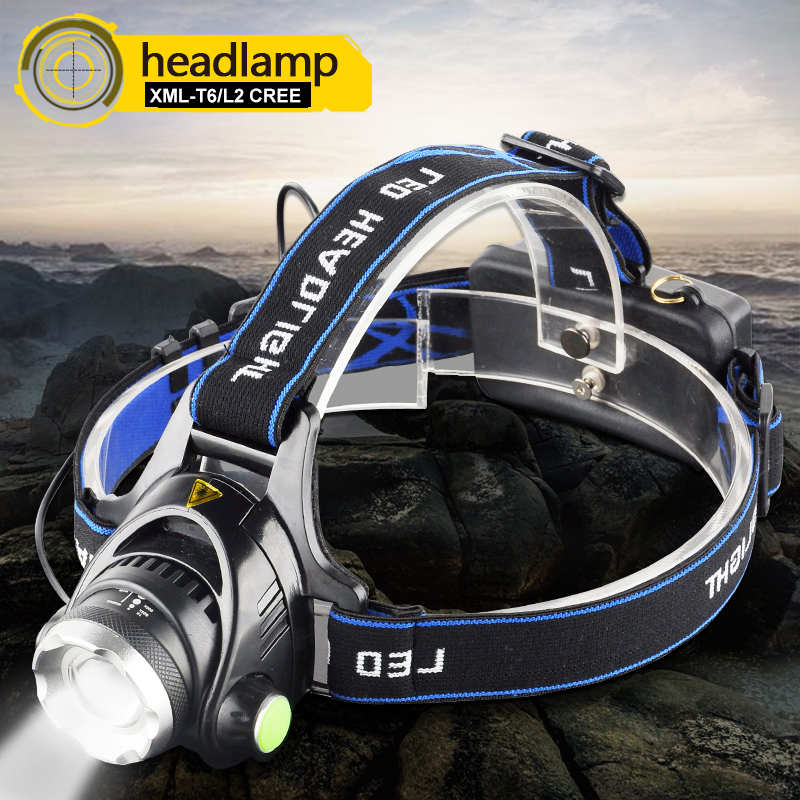 RU 8000LM XML-L2 XM-L T6 Led Headlamp Zoomable Headlight Waterproof Head Torch Flashlight Head Lamp Fishing Hunting Light