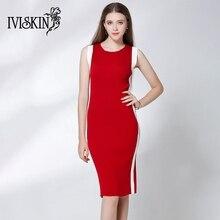 Горячая осень o-образным вырезом красный женское платье модные Лоскутные красный, белый платье длиной до колен Bodycon Повседневное без рукавов вязаная одежда