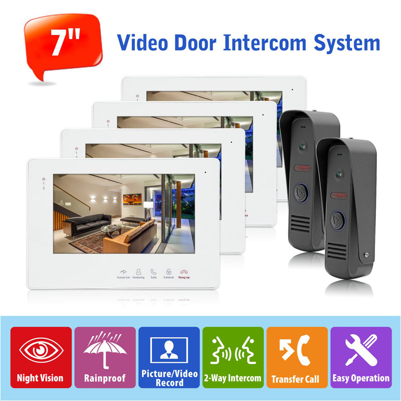 High Quality Wired 7 Touch Key Video Doorbell Camera Systems Compatible with Electronic Lock,CCTV Camera and Alarm PIR , 2 to 4 quality systems and controls for pharmaceuticals