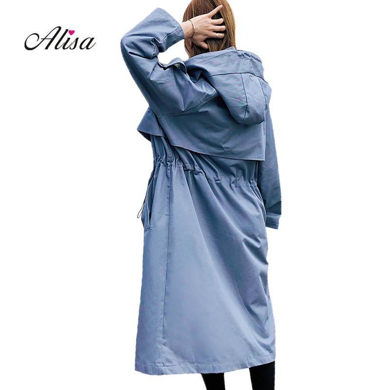 Plus Size Long Coat Women Autumn Harajuku Windbreaker 2018 New Long Sleeve Hooded Casual   Trench   Solid Fashion Female Overcoat