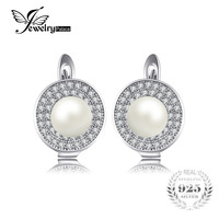 JewelryPalace Luxury 7mm Freshwater Cultured White Pearl Clip On Earrings 925 Sterling Silver Earring Fine Jewelry