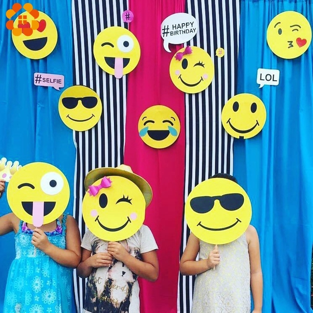 12PCS Set Emoji DIY Paper Photo Booth Props Cartoon Mask Party Funny Baby Shower Supplies Wedding Kid Birthday Decoration