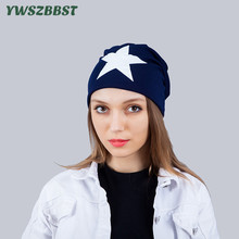New Autumn Winter Outdoor Women Skullies Hat Star Print Head Cap Lady Knitted Warm Cap Women Beanies Cap 2016 new autumn winter star pattern women beanies knitted hat plus velvet warm gorro cap