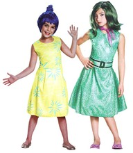 Free shipping,children halloweeen party cosplay Inside Out disgust Emotion Joy costume dress with wig(China)