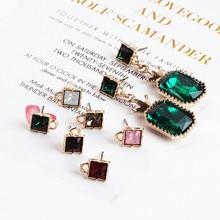 DIY ear jewelry accessories square Diamond Earrings Korea alloy belt hanging pendant Pendant Earrings materials temperament