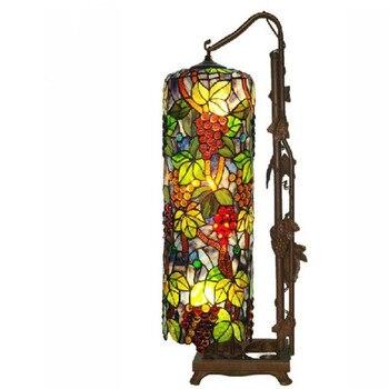 Vintage Tiffany Bohemia kolorowe szkło winogron lampa podłogowa do Foyer pokoju łóżko apartament oprawa oświetleniowa szkło H 83 cm 1092
