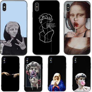For iphone x case Mona Lisa Art David lines soft silicone Phone Case cover For Apple iPhone 5 5S SE 6 6s 7 8 Plus XR XS Max case