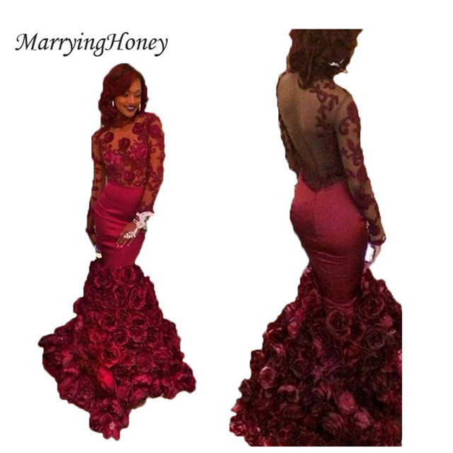 Long Sleeve Burgundy Prom Dresses 2016 Mermaid Designer Hand Made ...