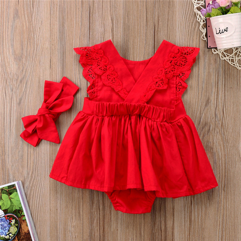 a77a56ee1ee1b Christmas Dress For Girls Xmas Baby Girls Red Romper Dresses 2017 New  Year's Jumpsuit Lace Backless Vestido Baby Girl Clothing
