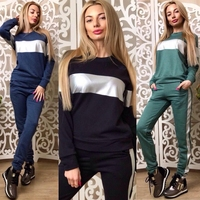 HAOYUAN Two Piece Set For Women Elegant Top And Pants Set Fall 2017 Womans Sweat Suits