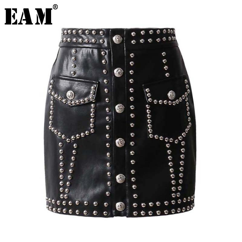 [EAM] 2020 New Spring Summer High Waist Black Pu Leather Rivet Split Joint Sexy Half-body Skirt Women Fashion Tide JL824