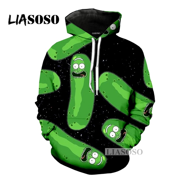 LIASOSO NEW Cartoon Rick And Morty Hoodie Sweatshirt 3D Printed Unisex Funny Ahegao Space Pickled Cucumber Outerwear Tops G477