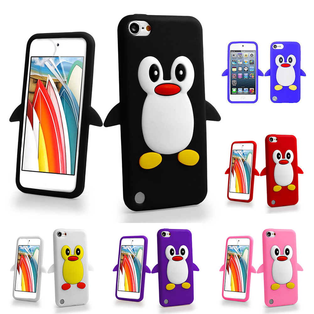3d cartoon penguin silicone gel shockproof case cover for for Housse ipod touch 5