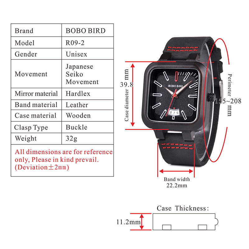BOBO BIRD Square Design Stylish Wooden Watch For Men With Box 12