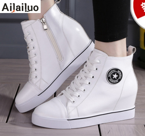 1dbdb7fb6a88 Black White Women Genuine Leather Shoes Fashion Hidden Wedge Heel Lace Up  Sport Casual Shoes Increasing Shoes Flats Heel 3028