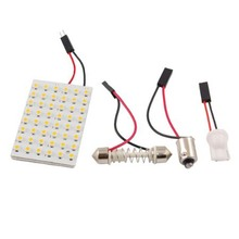 48 LED Panel 3528 SMD Dome Light Lamp + T10 BA9S Festoon Adapter ALI88