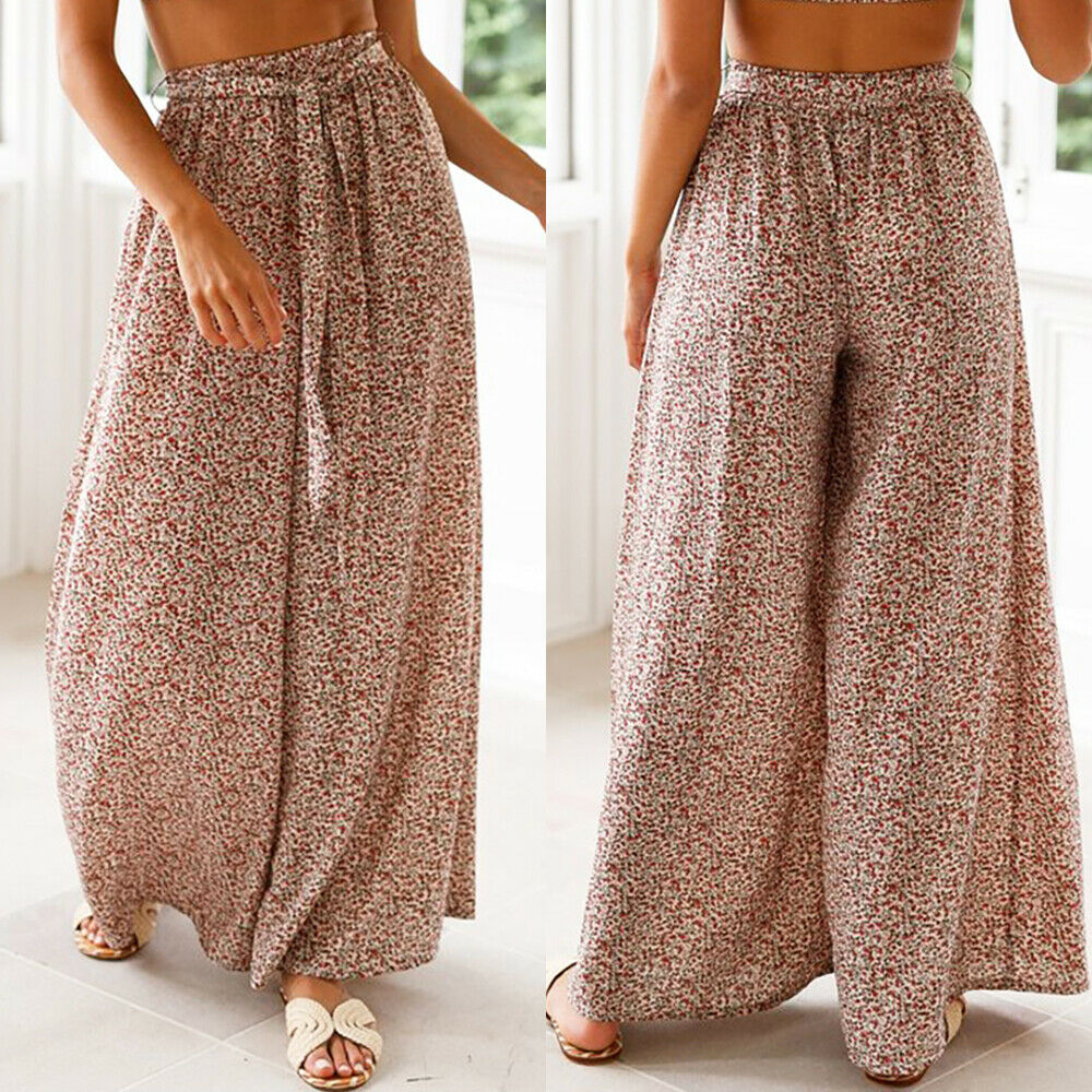 Ladies Printed Wide Legs High Waist Palazzo Culotte Summer Casual Trousers Pants