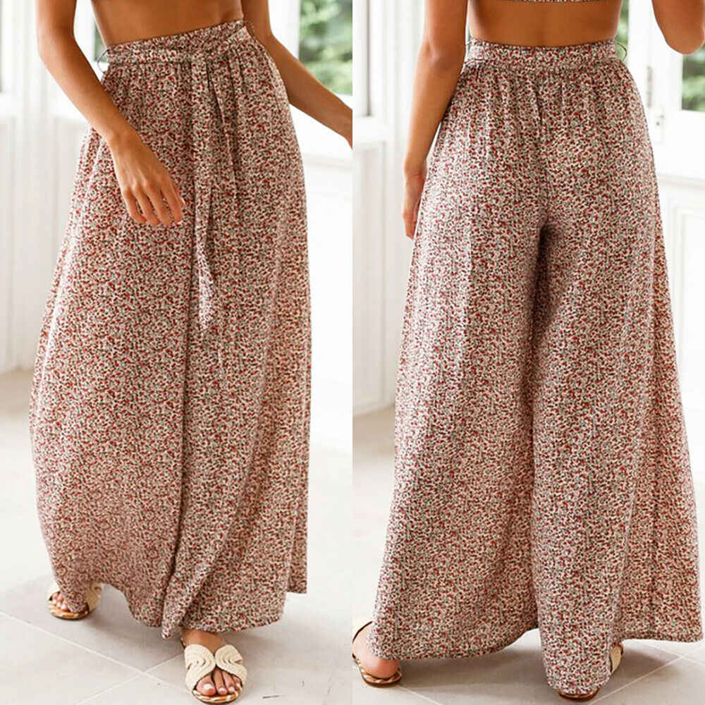 Women's Palazzo Floral Geometric Print Elastic High Waist Sashes Long Wide Leg Pants Loose Culottes Maxi Trousers