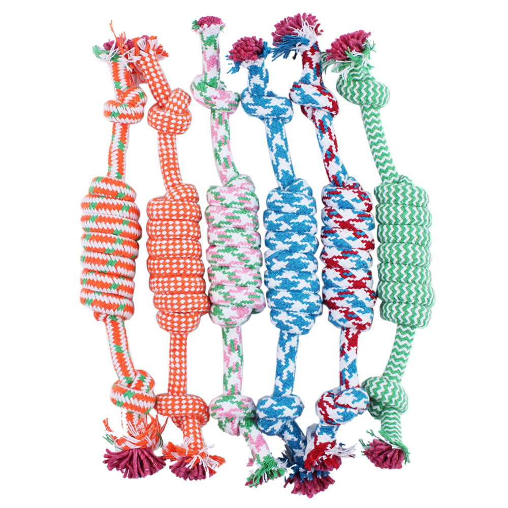 Puppy Dog Pet Toy Cotton Braided Bone Rope Chew Knot 27cm 55g High Quality Safe Chew Toys Dog Toys Hot