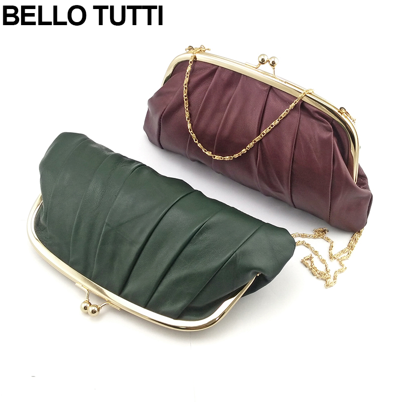 BELLO TUTTI Genuine Leather Wallet For Women Girls Metal Frame Coin Purse Sheepskin Casual Chain Shoulder Bag