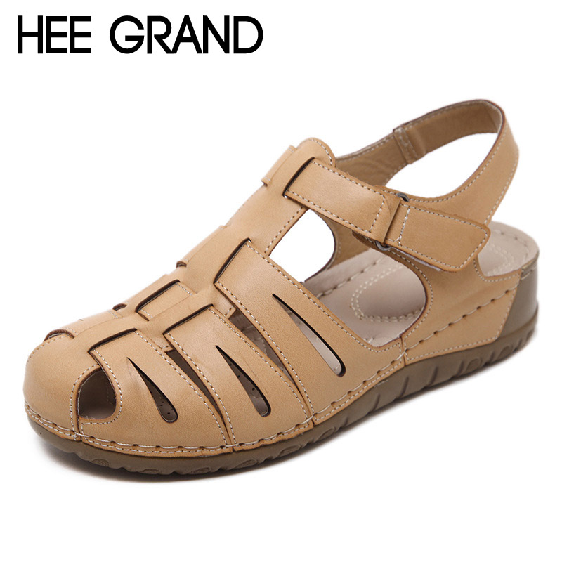 HEE GRAND 2017 Platform Gladiator Sandals Summer Round Toe Wedges Casual Shoes Woman Buckle Strap Flats Women Shoes XWZ4468 hee grand women gladiator sandals simple flat with buckle flip fflops woman summer casual shoes xwz3789