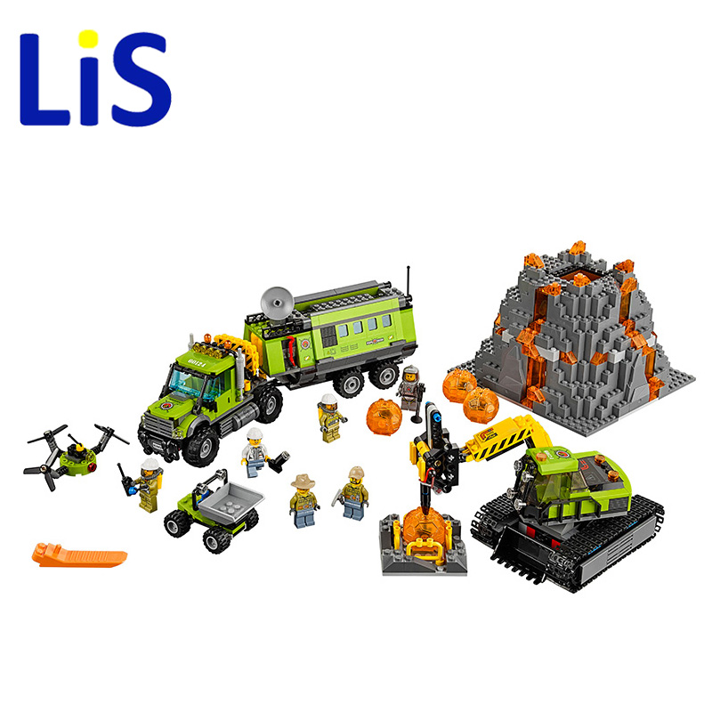 Lis 10641 Bela City Series Volcano Exploration Base Geological Prospecting Building Block Bricks Toys Gift For Children 60124 lepin 02005 volcano exploration base building bricks toys for children game model car gift compatible with decool 60124