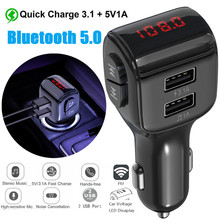 Display FM Transmitter Car Charger Dual USB Phone Charger Handsfree Bluetooth MP3
