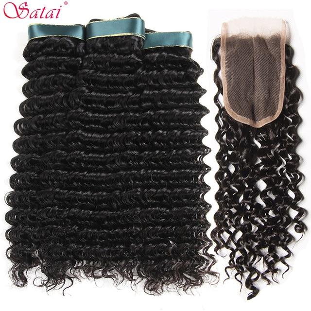 Satai Deep Wave Human Hair Bundles with Closure Middle Part 3 Bundles With Closure Brazilian Hair Weave Bundles Non Remy Hair