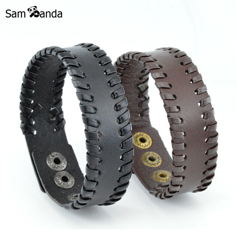 2018 New Vintage Weave Leather Bracelet Mens Jewelry Punk Casual Snap Adjustable Bracelets & Bangles For Women Gift Pulseras
