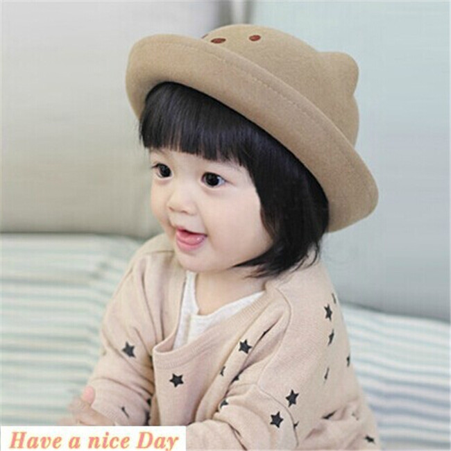 New Fashion Baby Bowler 100% Wool Fedora Hats Bear Style Girl Cap Round  Dome Cap Top Hat Children Felt Hat Christmas Gift A00196-in Hats   Caps  from Mother ... c1e00d9d0b69