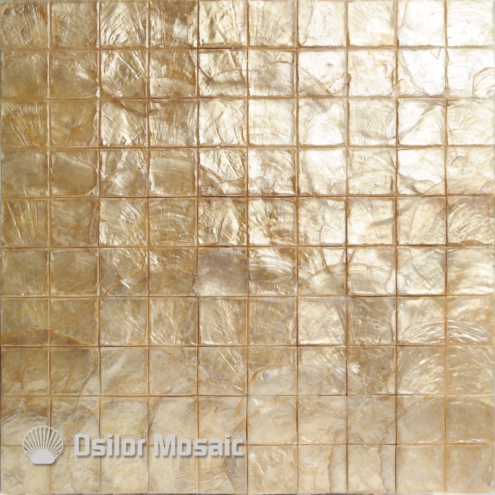 Golden color 100% natural capiz shell mother of pearl mosaic tile for living room or ceiling free shipping wave pattern 100% natural penguin shell and chinese freshwater shell mother of pearl tile wall tile