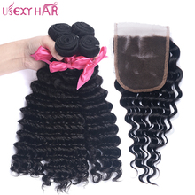 USEXY HAIR Deep Wave Maiaysian Hair With Closure Human Hair Weave 3 Bundles Non Remy Hair Weft 4×4 Lace Closure Natural Color