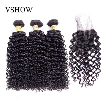 Brazilian Water Wave Bundles With Closure 3 Bundles With Closure VSHOW Hair Products 100% Remy Human Hair Bundles With Closure
