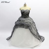 Plus Size Wedding Dress 2018 Strapless Off The Shoulder Crystals Tulle Ball Gown Black And White