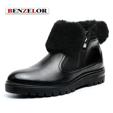 BENZELOR Men Shoes Winter Genuine leather Casual Snow Boots Men Sheepskin With Fur Top Quality Brand Zipper opening SDX6159