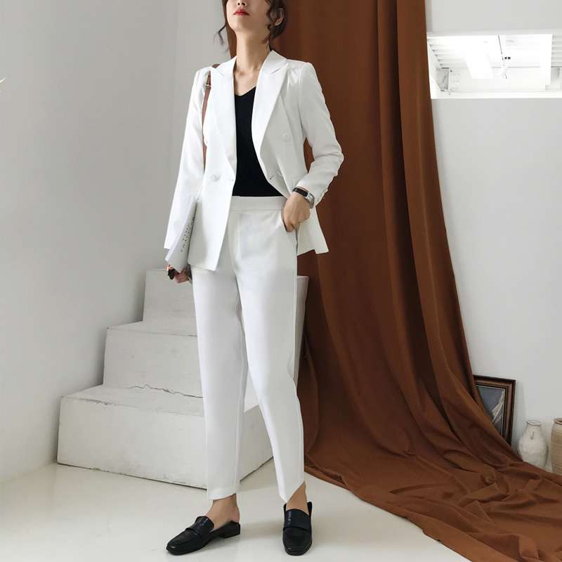 Office Ladies White Pant Suits Women Double-breasted Blazer Jacket & High Waist Pants 2019 Female Workwear 2 Pieces Set