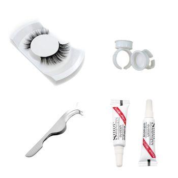 1 Natural False eyelashes set makeup kit 3d mink lashes, 1 eyelash tweezers, 1 eye lashes glue ,1 glue ring mink eyelashes