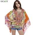Печать этническом рубашки кимоно женщины пляж блузки выдалбливают топы сексуальные Blusas Mujer широкий Chemisier лето Camisas