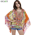Imprimir étnico Camisas Chiffon Kimono mulheres Blusas de praia escavar Tops Sexy Blusas Mujer solto Chemisier verão Camisas